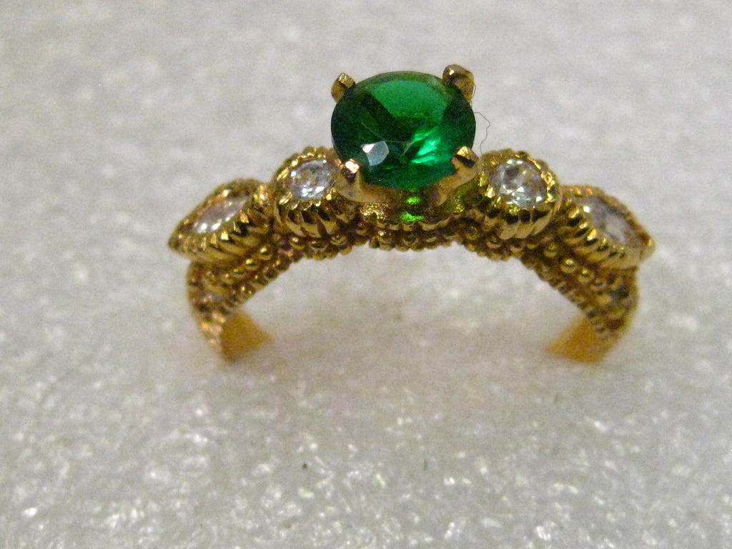 10kt Gold Russian Green & Clear Gemstone Ring, sz. 7.75, Andradite? Phenakite?