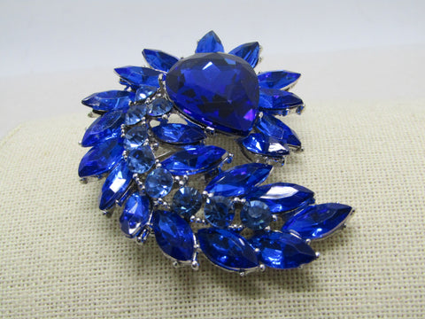 Large  Blue Rhinestone Brooch Pendant Combination, Art Deco Themed, Curved, 2.75""