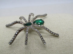 "Rhinestone Spider Brooch, Green and Clear, Silver Tone, 2.25"" tall"
