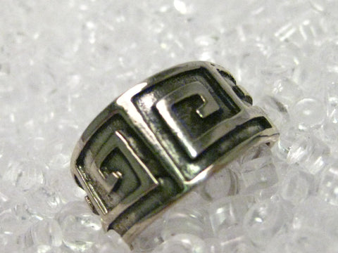 Sterling Silver Southwestern Wide Band Ring, size 8, signed Cellini, 6.33 (Greek Key like accents)