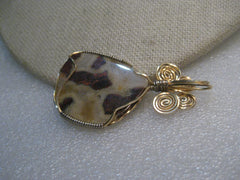 "10kt G.F. Wrapped Agate Pendant, 2"" Long, Tans/Browns"