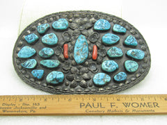 "Vintage Navajo Turquoise Coral Belt Buckle, Rare, Signed Jerry Roan, 6.5"" by 4.25"", 194.10 grams"