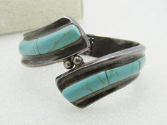 "Vintage Mexican Silver Turquoise Clamper Bracelet, Bypass 7"", 54.78gr., signed TR-164"