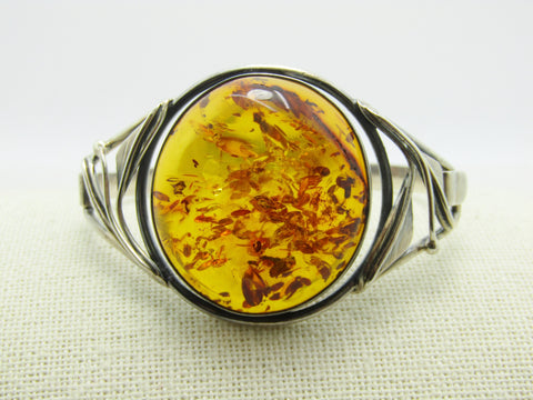 "Sterling Silver Amber Bangle Bracelet, Hook Clasp, 6.5"" -Statement Bracelet"