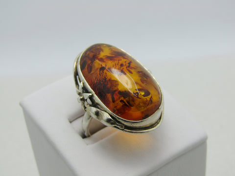 Sterling Silver Amber Ring, Size 7.5, 27mm x 16mm Amber Floral Accents, 9.65gr.