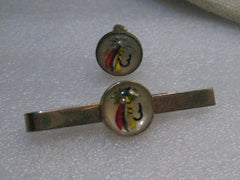 Vintage Fly Fishing Tie Bar and Single Cuff Link, Red/Yellow/Black Gold Tone, 1950's-1960's