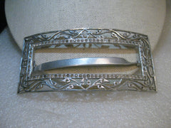 "Estate Aluminum Barrette with Rhinestones, 1940's-1950's, Vine Design, Cut-Out, 4"" by 2"""