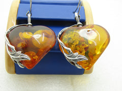 "Sterling Silver Amber Heart Earrings, Pierced, 2.5"" Long, 23.30 Grams"