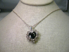"Vintage Avon Sterling Silver Filigree Heart and Black Stone 20"" Necklace"