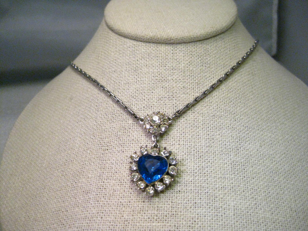 Vintage Silver Tone Blue Rhinestone Heart, Lady Dianna Style Necklace/Choker, 15.5""
