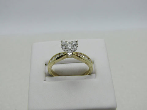 14kt Pave Heart Diamond Ring, Engagement, Channel Set Band, Size 7, .66tcw, 3.86 gr.