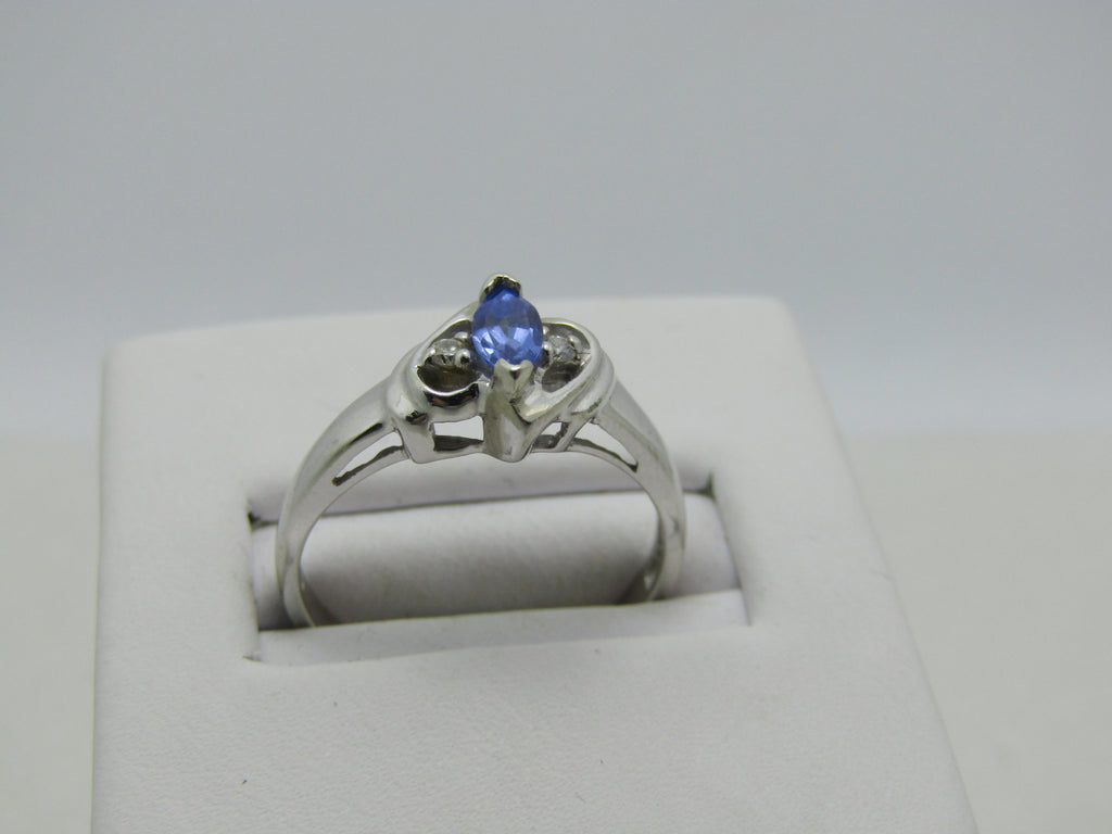 10kt Marquise Tanzanite Diamond Ring, Signed JLF, Sz 7.25, 2.48, .25ctw+