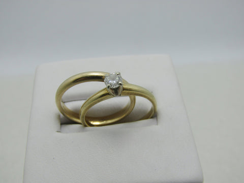 Vintage 14kt Diamond Engagement Ring  and Wedding Band,  .20 ctw, Size 6 and 5.75, 3.90 gr. Ring Set