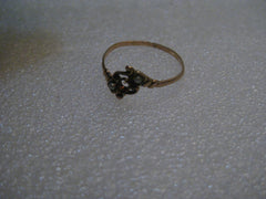 Victorian 10kt-12kt Ring Seed Pearls, Missing Stone, Size 7, .76 grams, 1800's