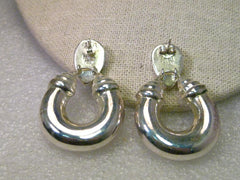 Sterling Silver Stud & Dangle Chunky Hoop Pierced Earrings, signed IBB, Boho/Southwestern Crossover Appeal