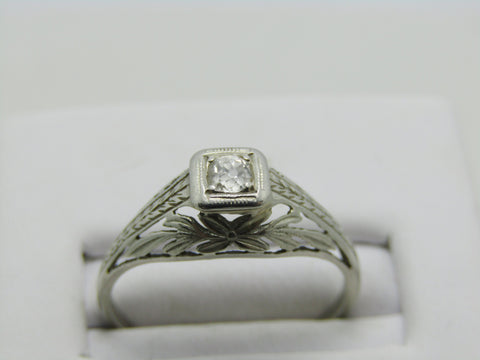 Antique 18kt Filigree Diamond Engagement Ring, Art Deco,  Old Mine Cut, Sz. 7, early 1900's
