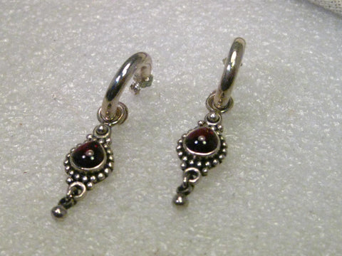 Sterling Silver 3/4 Hoop Pierced Earrings with Garnet Beaded Slide and Dangle -Bali or Boho Style - India