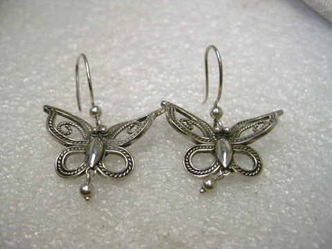 Sterling Silver Butterfly Dangle Pierced Earrings, Cut-Out, Boho, 1.5""