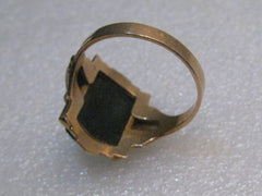 "Vintage 10kt Men's Carved Warrior Ring, Cameo Style, Sz. 11, 5.18"", Onyx/MOP, 1950's/60's signed HofK"