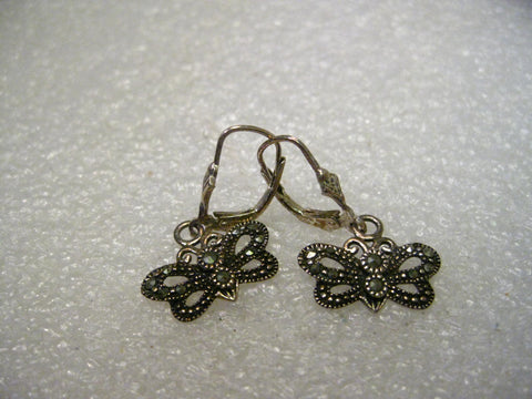 Sterling Silver Butterfly Marcasite Lever Back Pierced Earrings, Cut-Out, 1""