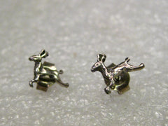 Vintage Sterling Silver Reindeer Stud Pierced Earrings, Petite