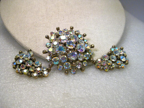 Vintage Aurora Borealis Rhinestone Brooch & Clip Earrings set, signed Claudette, Gold Tone, 1940-1950's