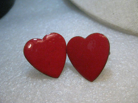Copper Enameled Heart Cuff Links,  Rectangular,  Red,  1980's Retro, 1""