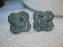 Copper Enameled Blue Cuff Links,  Baby Blue, Navy & White  1980's Retro - Unisex