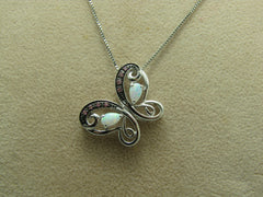 "Sterling Silver Opal Butterfly Necklace, Topaz Accents,  signed H, 18"" Box Chain, 3.42Gr,"