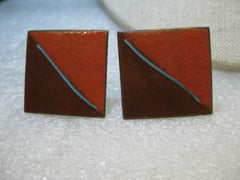 "Vintage Copper Enameled Cuff Links, Pumpkin/Brown, 1"" square, 1980's Retro - Unisex"