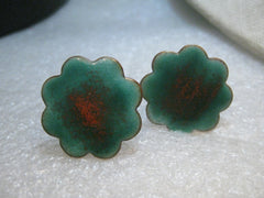 "Copper Enameled Scalloped Cuff Links, Teal & Copper, 1"" Blossom Shaped, 1980's Retro - Unisex"
