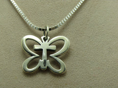 "James Avery Sterling Butterfly Cross Pendant on 20"" Box Chain"
