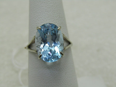 10kt Blue Topaz Statement Ring, Size 6.25, White Gold, Appx. 7.5 TCW