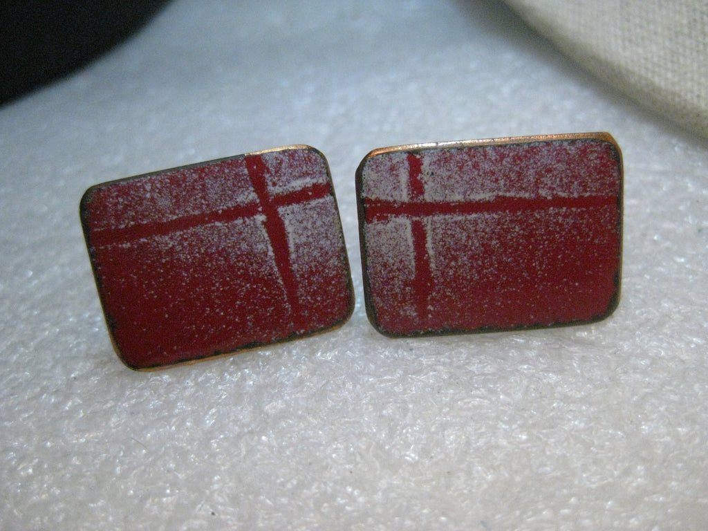 Copper Enameled Red Cuff Links,  Rectangular, White Accents  1980's Retro - Unisex 1""