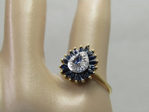 Vintage 10kt Blue Spinel Diamond Halo Ring, Sz. 6, 1.92 gr.