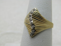 Vintage 10kt Diamond Art Deco Themed Ring, Sz. 6, Also Modern Design, Two-Tone