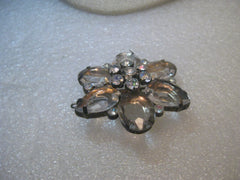 "Pair Rhinestone Blossom Barrettes, Pink and Clear,  1.75"", Tiered, 1980's"