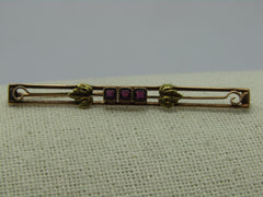 "Victorian 10kt Amethyst Ostby & Barton Bar Brooch, 2-3/8"", 2.85 grams, late 1900's, C-Clasp"