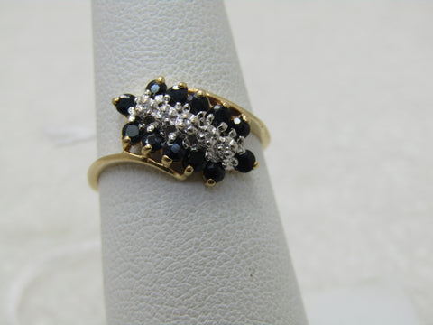 Vintage 10kt Blue Spinel Diamond Art Deco Theme, Ring, Sz. 6.5,