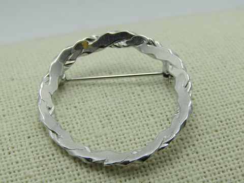 Vintage Beau Sterling Sterling  Brooch, 4mm Circle, Intertwined, 4.09 gr. 1960's, 1.25""