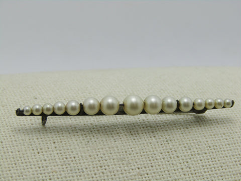 "Vintage Sterling Faux Pearl Brooch, Bar Pin  Graduated, 2.25"", 2.75gr, 1930's, c-clasp"