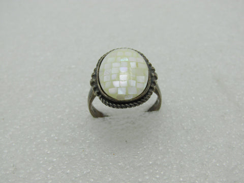 Vintage Sterling Mosaic MOP Ring, Size 8, 4.84gr, 1960's-1970's, signed CW
