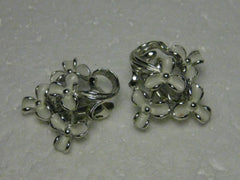 Vintage Silvertone & White Enameled Petite Floral Clip Earrings , 1950's Style, 1""