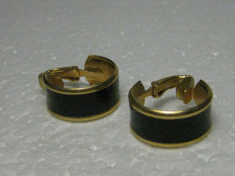 "Vintage 1960's Goldtone Black Enameled Wide Petite Hoop Clip-on Earrings, 3/4"" long, 1/3"" wide"