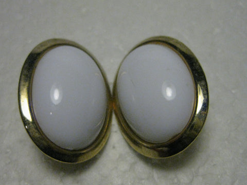 Vintage 1970's/80's Goldtone Large Oval Clip Earrings with White Domed Center, 1.25""