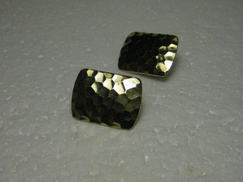 Vintage 1970's/80's Goldtone Hammered Clip Earrings, 1""