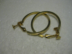 "1960's Goldtone Hoop Earrings, Squared/Rounded Tube Style,1.25""  Clip-On Earrings with Screw Adjustment."