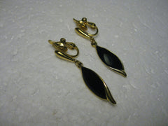 Vintage Earrings, Gold Tone, Black Enameled Curved Dangle Blade Clip-on Earrings - Very Nice. 1.5""