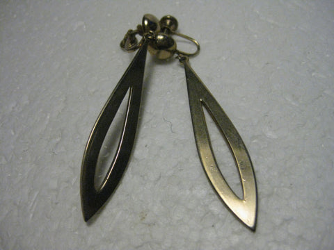 Vintage 1960/1970's Goldtone Long Pointed Open Center Dangle Clip earrings with Button Stud, 2.75""