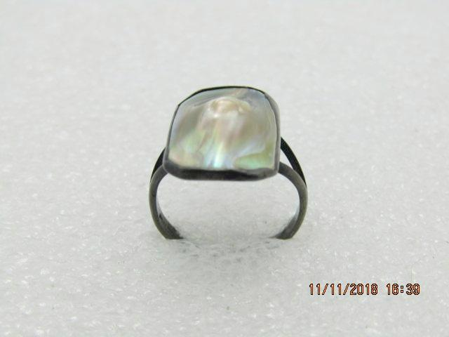 Vintage Sterling Silver Blister Pearl Ring, Size 3.5, 1.96gr, 1940's-1950's